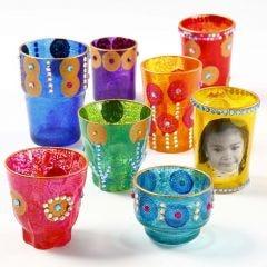 Lysglas dekoreret med rhinsten og maling