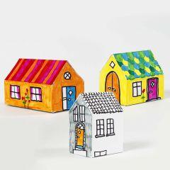 Malet og samlet hus af karton