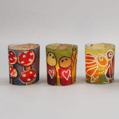 Lysglas med bælte af dekoreret akvarelpapir