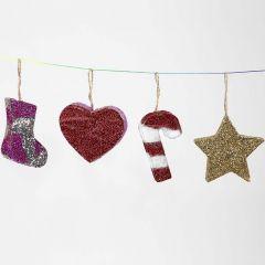 Juleophæng af papmache med glitter