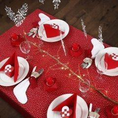 Juleborddækning i rødt og hvidt