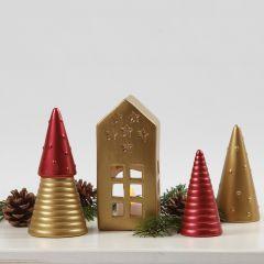Juletræer og hus af terrakotta malet med Art Metal maling