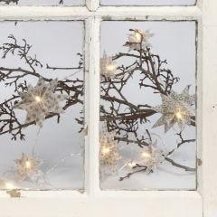 LED lyskæde med flettede julestjerner