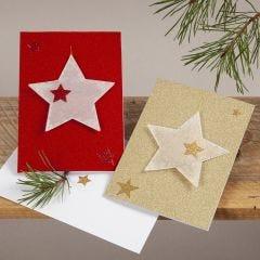 Julekort i glitter med stjerneophæng af pergamentpapir