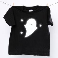 T-shirt med reflekterende spøgelse af strygerefleks