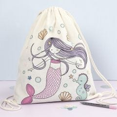 Skopose med havfrue motiv dekoreret med tekstiltusch og pailletter