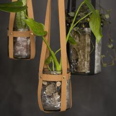 Ampel af læderpapir strimler og nitter