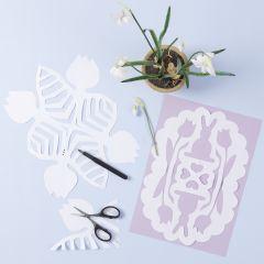 Gækkebrev med påskeharer og blomster