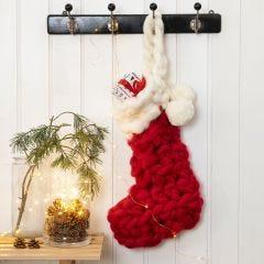 Hæklet julesok i kæmpegarn til kalendergaver og adventsgaver