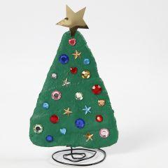 Juletræ af bonzaitråd og gipsgaze dekoreret med rhinsten
