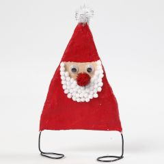 Julemand af bonzaitråd og gipsgaze dekoreret med pomponer