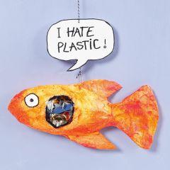 Gipsgaze fisk med plastik i maven