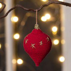Hæklet dråbeformet ornament i bomuldsgarn