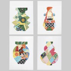 Symmetriske motiver dekoreret med håndlavet papir
