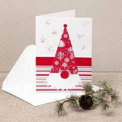 Julekort med næsenisse lavet af designpapir