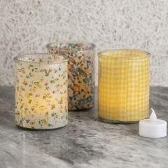 Lysglas dekoreret indvendigt med stof
