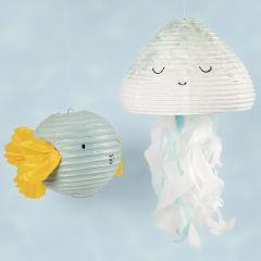 Vandmand og fisk af rispapirlampe dekoreret med hobbymaling og silkepapir