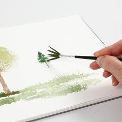 Sådan laver man akvarelteknikker med en viftepensel