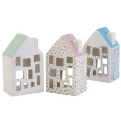 Hyggelige lyshuse med glimmerdetaljer