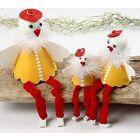 Siddende kyllinger med ben af tubestrik