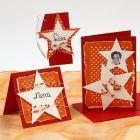 Invitation, bordkort og menukort med stjerner og rocaiperler