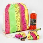 Skopose og pung, malet i neonfarver