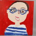 Malet selvportræt på lærred