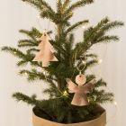 Engel og juletræ ophæng af læderpapir