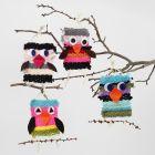 Vævede fugle af maxi akrylgarn med detaljer i filt