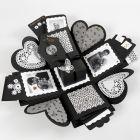 Explosion box med lommer til indhold af kort og billeder