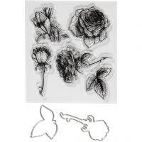 Stempler og skæreskabeloner, blomster, str. 4-6,5 cm, 1 pk.