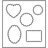Skæreskabelon, forme med bølget kant, str. 14x15,25 cm, tykkelse 15 mm, 1 stk.