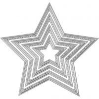 Skære- og prægeskabelon, stjerner, diam. 3,5-11,5 cm, 1 stk.