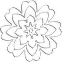 Skæreskabelon, blomst, diam. 0,5-8 cm, 1 stk.
