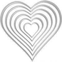 Skære- og prægeskabelon, hjerter, str. 2,5x3-10x11 cm, 1 stk.