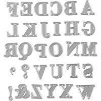 Skæreskabelon, alfabet, str. 2x1,5-2,5 cm, 1 stk.