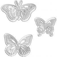 Skære- og prægeskabelon, sommerfugle, str. 5x4,5+6,5x5+8x4,5 cm, 1 stk.