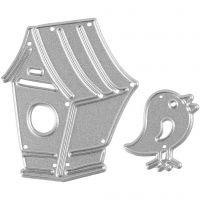 Skære- og prægeskabelon, fuglehus og fugl, str. 2x2,5 cm, 1 stk.