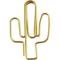 Klips, kaktus, str. 40x30 mm, guld, 6 stk./ 1 pk.