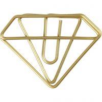 Klips, diamant, H: 25 mm, B: 35 mm, guld, 6 stk./ 1 pk.