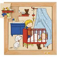 Rammepuslespil sovende barn, str. 24x24 cm, 1 stk.
