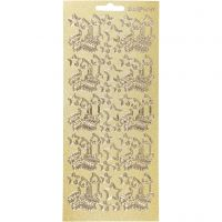 Stickers, julelys, 10x23 cm, guld, 1 ark