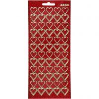 Stickers, hjerter, 10x23 cm, guld, rød glitter, 1 ark