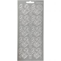 Stickers, hjerter, 10x23 cm, sølv, 1 ark
