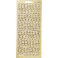 Stickers, border, 10x23 cm, guld, 1 ark