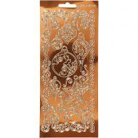 Stickers, ornamenter, 10x23 cm, guld, 1 ark