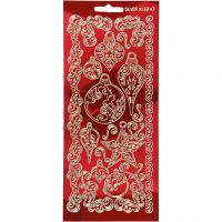 Stickers, ornamenter, 10x23 cm, guld, transparent rød, 1 ark