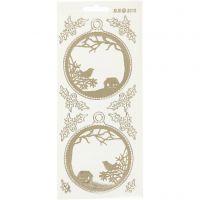 Stickers, julekugler, 10x23 cm, guld, transparent, 1 ark