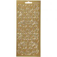 Stickers, hjerter, 10x23 cm, guld, 1 ark