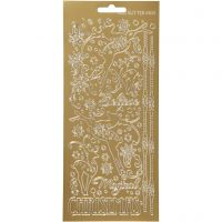 Stickers, rensdyr, 10x23 cm, guld, 1 ark